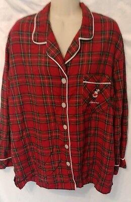 Disney World Minnie Red Plaid Christmas Pajama Top Sleepwear Embroidery Shirt XL