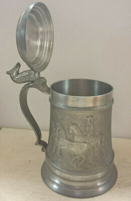 SKS PEWTER HORSE THEME TANKARD WITH LID