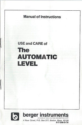 New Cstberger The Automatic Level Instruction Manual
