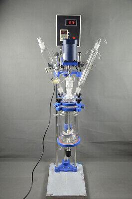 New 5l Jacket Chemical Reactor Glass Reaction Vessel Digital Display 220v 50hz