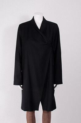 Joseph Black Wool Wrap Front Draped Long Sleeve Cardigan Blazer Jacket Coat L