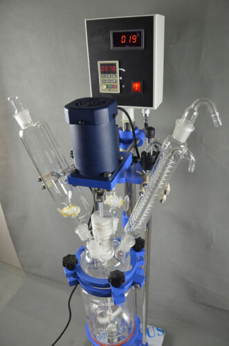 220V 5L Chemical lab Jacketed Glass Reactor Vessel Digital Display