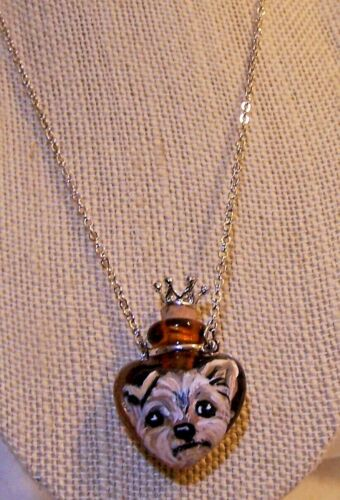 hand painted Yorkie  perfume bottle pendant necklace