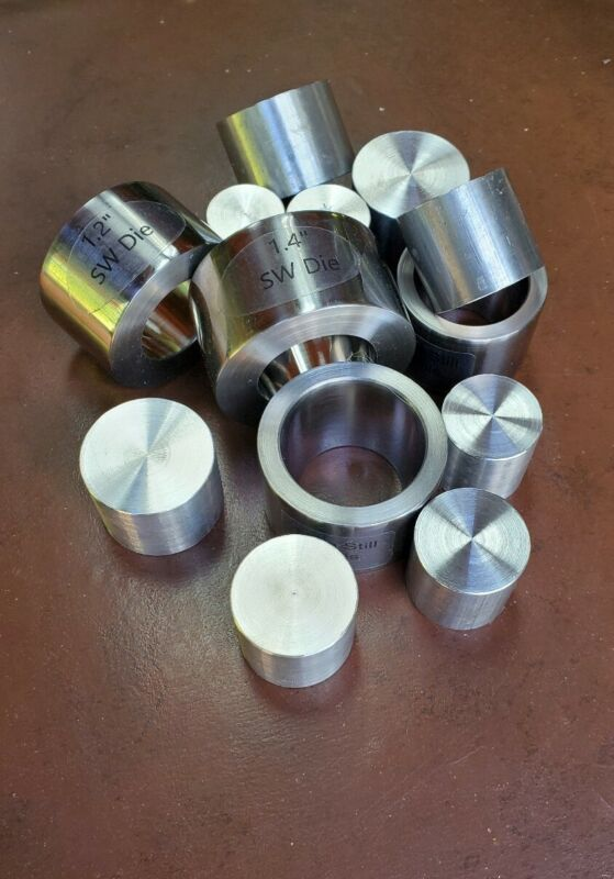 4 SWEDISH WRAP DIES @ 7° FOR COIN RING TOOLS PLUS 9 PUSH RODS