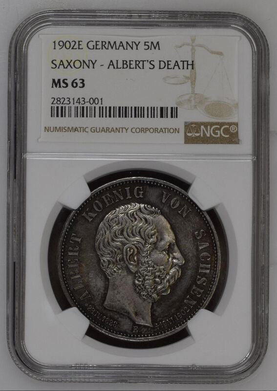 GERMANY 1902E 5 MARK SAXONY SILVER COIN NGC MS-63, looks better!