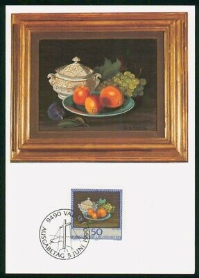 Mayfairstamps Liechtenstein FDC 1990 Painting Bowl of Fruit Maximum First Day Ca