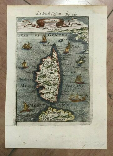 CORSICA FRANCE 1684 MANESSON MALLET ANTIQUE MAP GERMAN EDITION IN COLORS