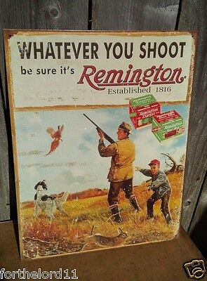 REMINGTON WHATEVER YOU SHOOT Classic Tin Sign Metal Wall Garage Hunting Shop Bar