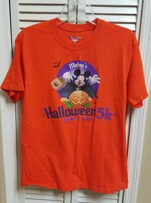Run Disney Shirt 2010 Happy Haunted Halloween 5k Running Mickey Mouse Medium M - Happy Halloween Run