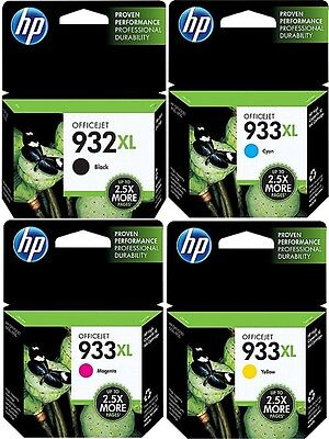 Genuine HP 932XL High Yield & HP 933XL Cyan, Yellow & Magenta NEW - OEM!