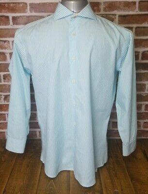 ISAAC MIZRAHI New York Mens Flip Cuff LS Button Dress Shirt Sz 16 1/2 Slim Fit