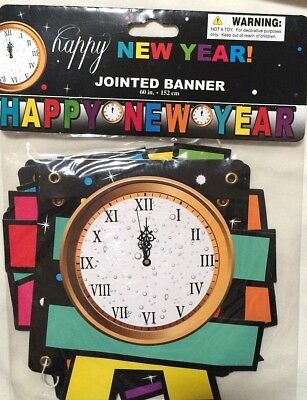 Happy New Years Eve Jointed Banner with Clock 60 in. Party Decorations    1/8A