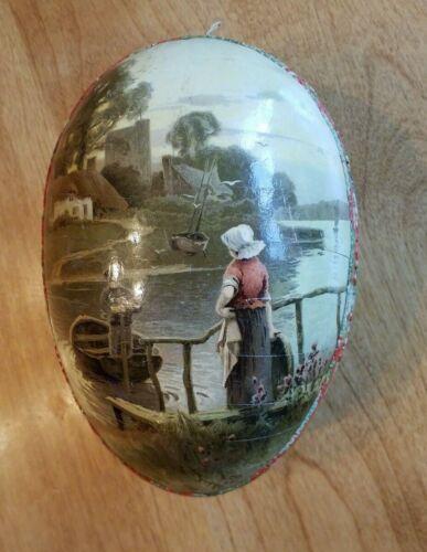 Large Victorian Paper Mache Cardboard Easter Egg w/Farm Scene and Dutch Scene