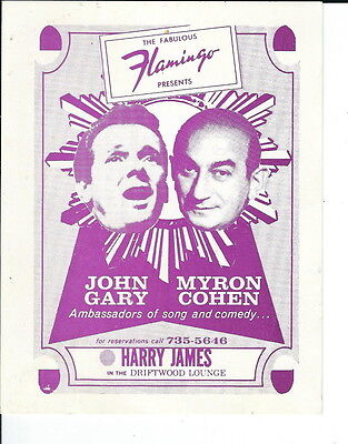 MC-196 - Flamingo Hotel Vintage Postcard John Gary Myron Cohen Advertising Vegas
