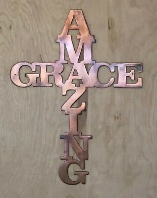 Patina Copper Wall Hanging (Amazing Grace Cross Rustic Copper Patina Finish Metal Wall Art)