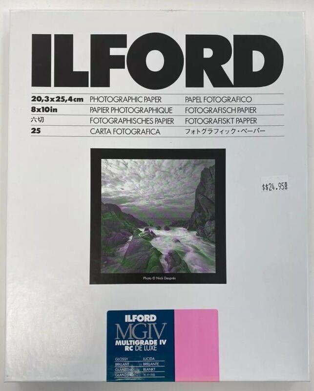 Ilford 8x10 Multigrade IV RC B&W Deluxe Darkroom Paper 25 Sheets Glossy 1168190