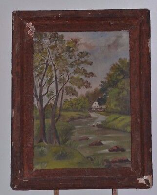 ANTIQUE PAINTING ON CANVAS LANDSCAPE SIGN PAUL GUENOUX OIL PAINTING FRAME