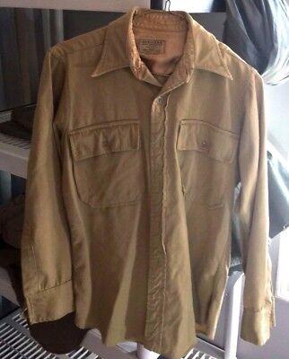 1940s Men's Shirts, Sweaters, Vests Vtg Men's WWII US Army Officers Cotton Dress Shirt sz M WW2 1940s 40s S5 30D $49.99 AT vintagedancer.com