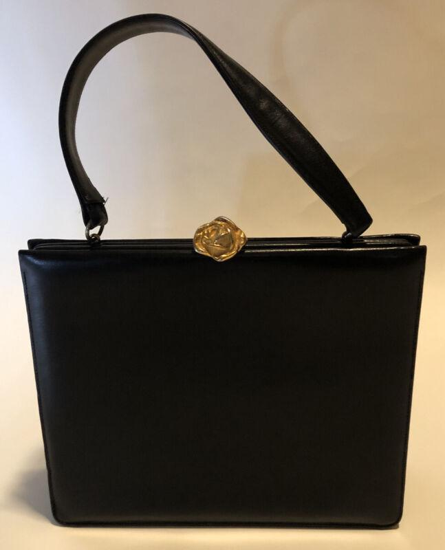 Vintage Bienen Davis Purse Black Box Style Rose Kiss Clasp Clutch Evening Bag