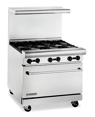 American Range Ar6-c 36 Hd Gas Restaurant Range W 6 Burners Convection Oven
