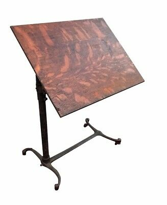 VICTORIAN OAK ANTIQUE WRITING / DRAFTING TABLE ON INDUSTRIAL CAST IRON BASE for sale  Springfield