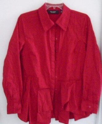 Kris Jenner Kollection Blouse Paneled Front Button Down Long Sleeves Size Xs