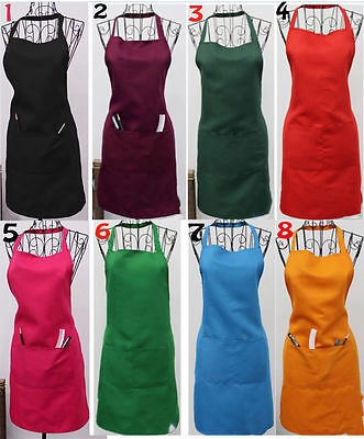 New Women Solid Cooking Kitchen Restaurant Bib Apron Dress With Pocket Gift Gx