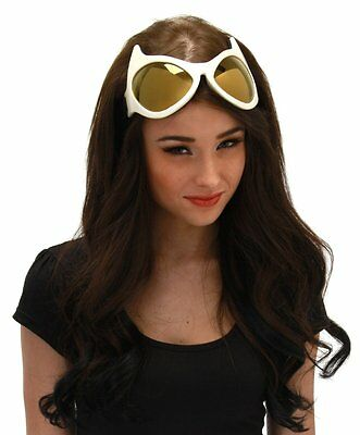 Used, CAT EYE GOGGLES White Gold Yellow Costume Glasses Cosplay Catwoman Anime Mask for sale  Provo