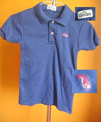 True Vtg 70s Boys BLUE KNIT POLO POCKET Shirt 12 MEDIUM M - 70s Boys Clothes