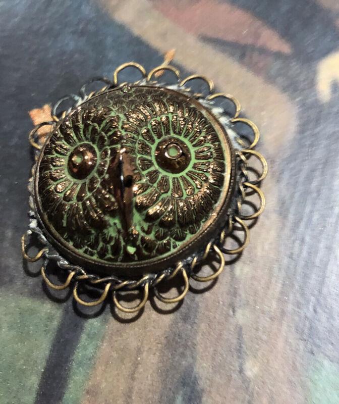 Antique Victorian Owl Engraved Green Enamel Pendant Buckle Fob