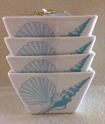 222 Fifth COASTAL LIFE BLUE Appetizer Dessert Square Bowls Set Of 4