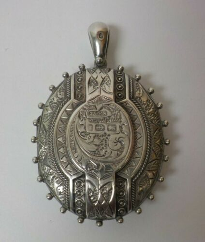 """English Victorian Period Sterling Silver Engraved 1.75"""" Locket (#1)"""