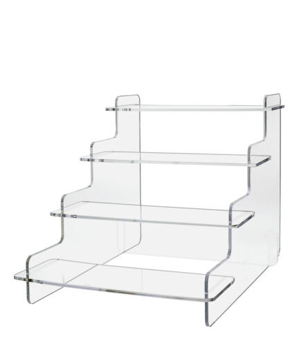 Pack of 6 Tiered Clear Acrylic Step Risers with 4 Platforms
