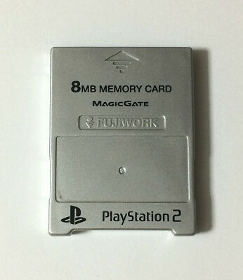 USED PS2 8MB MEMORY CARD Silver for Sony PlayStation 2 Game JAPAN import