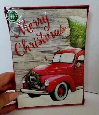 """NEW Old RED PICKUP TRUCK With Christmas Tree CHRISTMAS CARDS Glitter 5"""" x 7"""""""