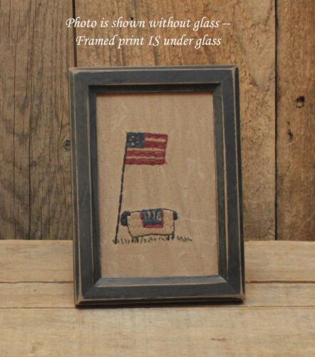 Framed Primitive Stitchery - Flag Pole & Sheep - Americana