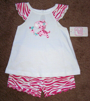 Girls Set outfit SWIGGLES White Zebra Ruffled Top Pink Bloomers Shorts 3/6M 12M  White Ruffled Top Outfit
