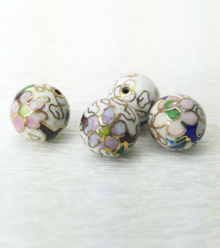 Vintage White with Mixed Color Flower Cloisonne Chinese Enamel 12mm 4Beads