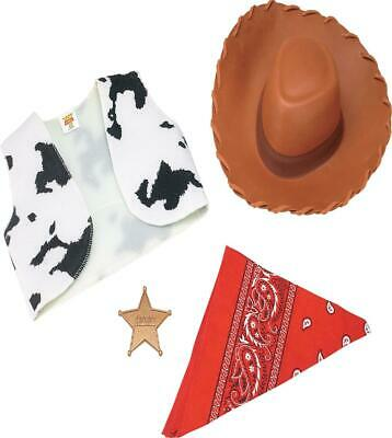 TOY STORY WOODY COWBOY COSTUME DRESS UP HAT VEST KIT ACCESSORY DG18087](Toy Cowboy Hat)