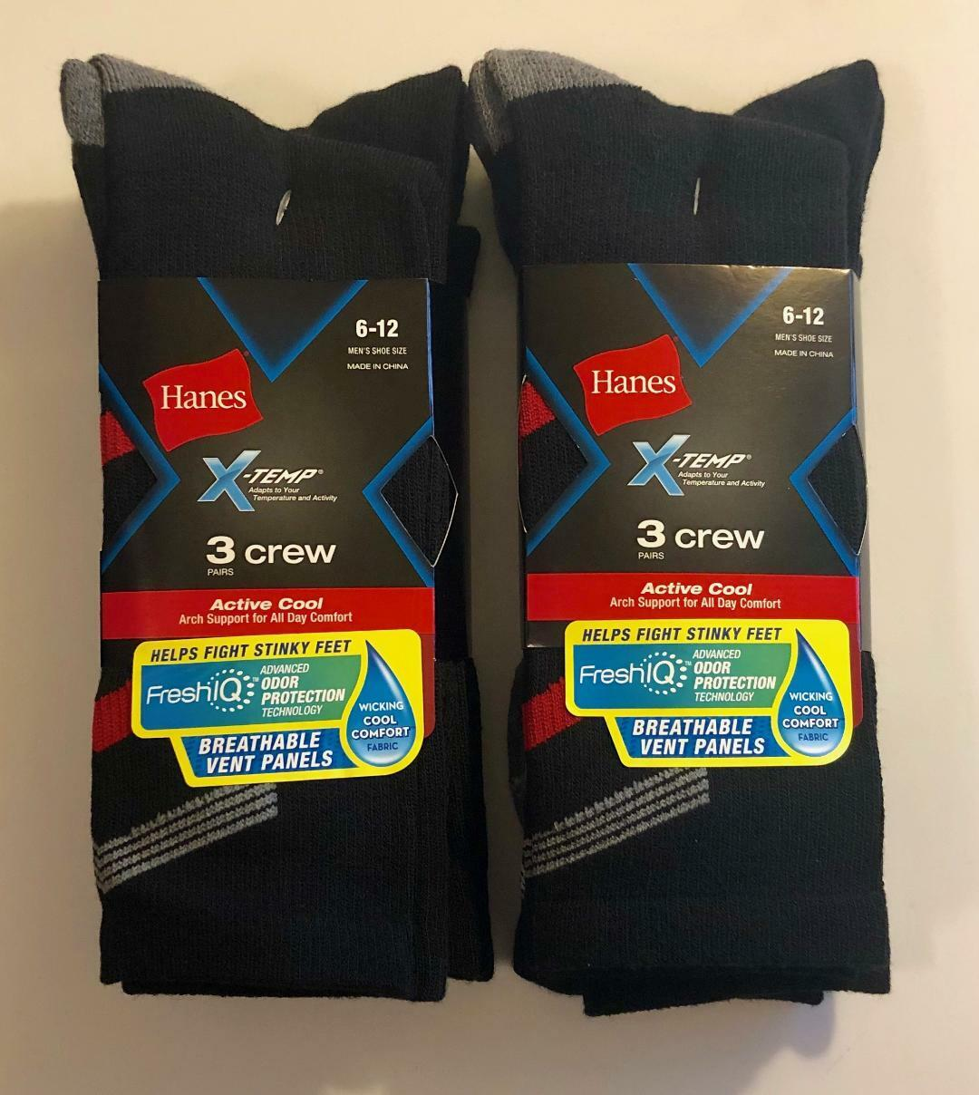 2x Hanes X-Temp Black 3-Pack  Active Cool Arch Support Crew