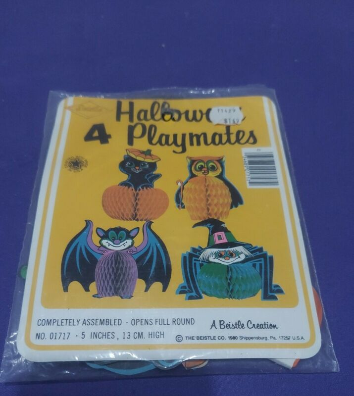 "NOS 4 VINTAGE BEISTLE 1980 HONEYCOMB HALLOWEEN CHARACTERS 5"" NIP"