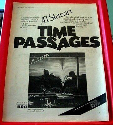 Al Stewart Time Passages/UK Tour Vintage ORIG 1978 Press/Mag ADVERT Poster-Size