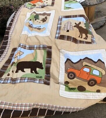 Woolrich Kids Camping Theme Quilt Only Bears Tent Camper Twin Bed Canoe Moose