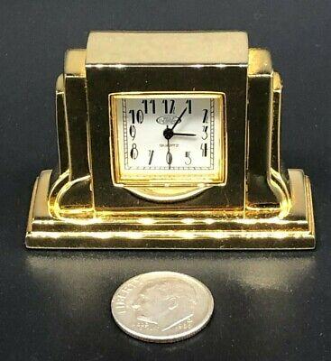 Vintage WOLF Solid Brass Miniature Mantle Quartz Clock - Very Nice!!