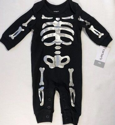 Carters Halloween Pajamas Skeleton (Carters NB Newborn Boy Girl Halloween Skeleton Pajama Sleeper Costume)
