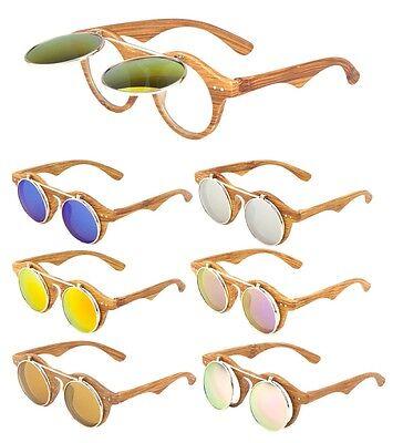 Nerd Sunglasses (WOOD FRAME COOL FLIP UP SUNGLASSES CLEAR LENS NERD RETRO STEAMPUNK ROUND)