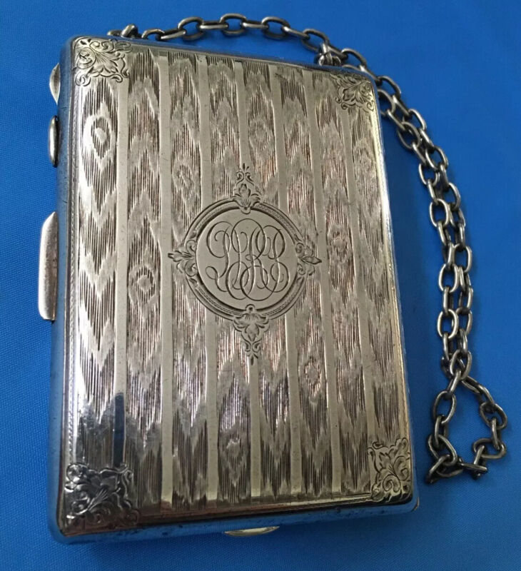 Antique SOLID STERLING SILVER Money Coins Card Cases Pocket WALLET PURSE 197gram