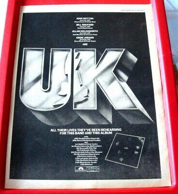 UK Self-Titled/Tour Vintage ORIG 1978 Press/Mag ADVERT Poster-Size John Wetton