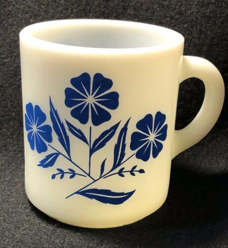 Hazel Atlas Milk Glass Blue Cornflower Flower Mug Coffee Cup