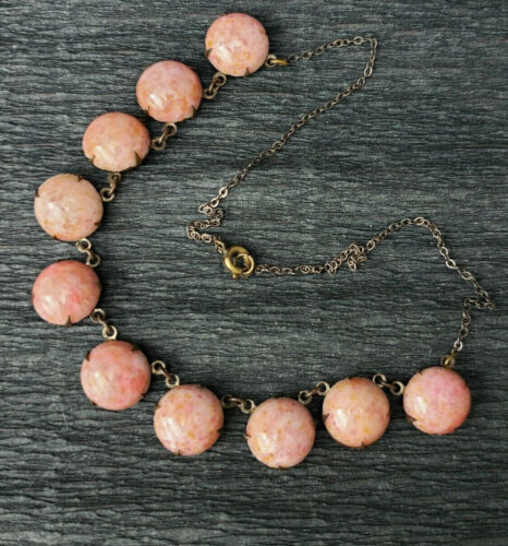"""Antique Deco Coral Pink Hand Made Art Glass Stones Open Back Necklace 15.5"""""""